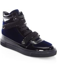 Louis Leeman Braid Buckle Leather High-top Trainers - Blue