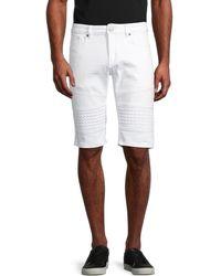 Xray Jeans Moto Denim Shorts - White