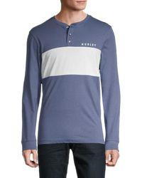 Hurley Men's Coastal Dunes Colorblock Jersey T-shirt - Dark Blue - Size M