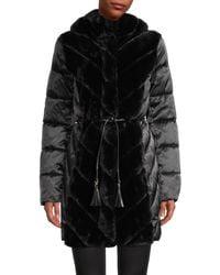 Karl Lagerfeld Faux Fur-trimmed Puffer Coat - Black