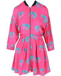 Maje Women's Floral Zip-up Dress - Printed Pink - Size 3 (l)
