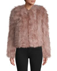 Lamarque Roundneck Feather Jacket - Pink