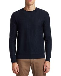 Saks Fifth Avenue Collection Textured Wool Blend Jumper - Blue