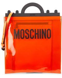 Moschino Women's Logo Pvc Shopping Bag - Orange