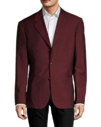 Versace Men's Solid Wool Standard-fit Jacket - Red - Size 54 (44)