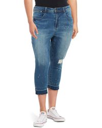 Seven7 Cropped Distressed Jeans - Blue