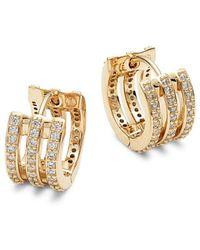 Adriana Orsini Women's Goldtone & Crystal 3-row Huggie Earrings - Metallic