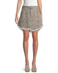 Free People Bailey Leopard-print Denim Skirt - Grey