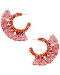 Panacea Beaded Tassel C Hoop Earrings - Multicolour