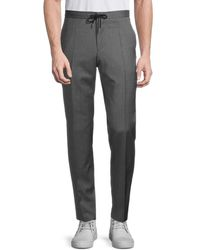 BOSS by Hugo Boss Men's Flat-front Wool Drawstring Trousers - Grey - Size 36