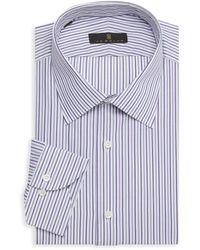 Ike Behar Striped Dress Shirt - Purple