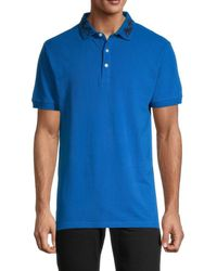 Standard Issue Embroidered-collar Cotton Polo - Blue