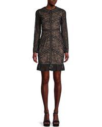 Bardot Lace Sheath Dress - Black