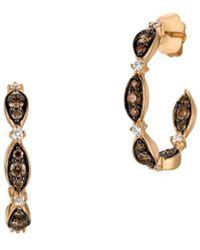 Le Vian 14k Strawberry Gold Vanilla Diamonds® & Chocolate Diamonds Open Hoop Earrings - Brown