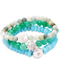 Anzie - Set Of Three Boheme Green Jade, Turquoise, White Topaz & Sterling Silver Beaded Bracelets - Lyst