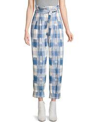Robert Rodriguez Hollie Plaid Tie-waist Trousers - Blue
