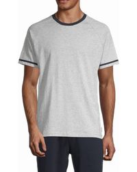 Ted Baker Men's Contrast-trim T-shirt - Heather Gray - Size S