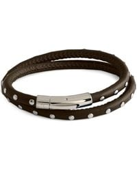 Tateossian Stainless Steel & Leather Studded Wrap Bracelet - Brown