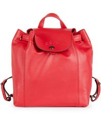 Longchamp Le Pliage Cuir Xs Leather Backpack - Red
