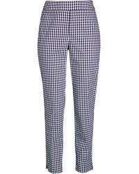 St. John Tapered Stretch Gingham Pants - Blue