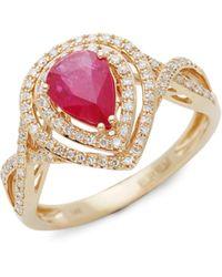 Effy 14k Yellow Gold, Ruby & White Diamond Solitaire Ring - Multicolour