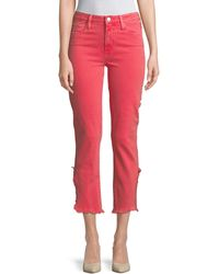 PAIGE Hoxton Vented Straight-leg Cropped Jeans - Pink