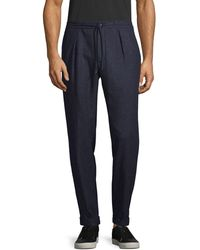 Larusmiani Textured Wool, Silk & Cashmere-blend Pants - Blue