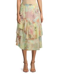 Vince Camuto - Faded Blooms Tiered Skirt - Lyst