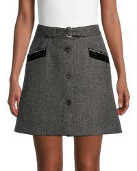 Miu Miu - Herringbone Wool Skirt - Lyst