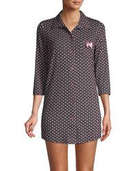 Betsey Johnson Heart-print Collared Sleepshirt - Gray