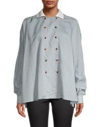 Giorgio Armani Women's Striped Cape-back Blouse - Light Blue - Size 40 (6)