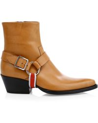 CALVIN KLEIN 205W39NYC Tex Harness Leather Ankle Boots - Multicolor