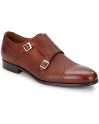 Massimo Matteo - Woven Leather Monk Strap Shoes - Lyst