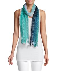 Missoni Long Fringed Cotton Scarf - Blue