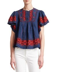 Sea Leah Puff Sleeve Embroiered Top - Blue