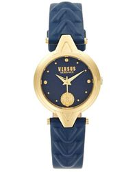 Versus Goldtone Stainless Steel & Leather-strap Watch - Blue