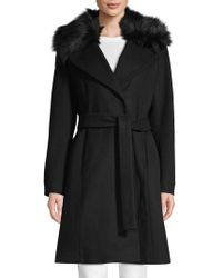 Tahari - Fiona Faux Fur-trimmed Wrap Coat - Lyst