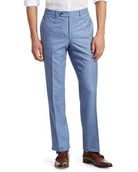 Saks Fifth Avenue Collection Flat-front Pants - Blue
