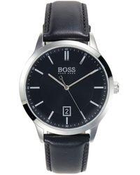 BOSS by Hugo Boss Men's Stainless Steel & Leather-strap Watch - Black