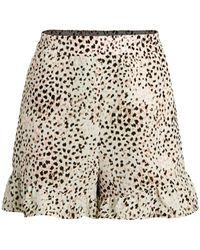 BCBGMAXAZRIA Leopard-print Ruffle-hem Shorts - Natural