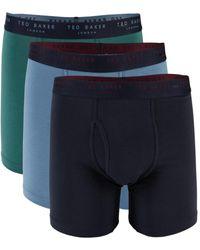 Ted Baker Men's 3-pack Stretch-cotton Boxer Briefs - Daze - Size L - Blue