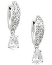 Adriana Orsini Women's Silvertone & Crystal Hoop Drop Earrings - Metallic