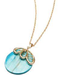 Akola Women's Soma Goldtone & Ankole Horn Petal Pendant Necklace - Blue