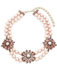 Heidi Daus - Simulated Faux Pearl And Crystal Triple Station Beaded Necklace - Lyst