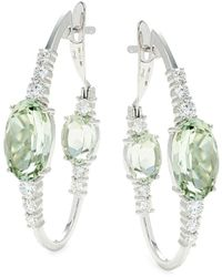 Hueb Women's Spectrum 18k White Gold, Green Amethyst & Diamond Drop Earrings