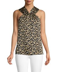 Ava & Aiden Leopard Halter Top - Multicolor