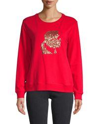 Karl Lagerfeld Sequin Graphic Sweatshirt - Red
