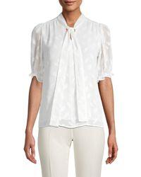 Calvin Klein Mockneck Short-sleeve Top - White