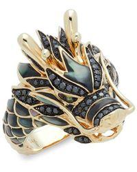 Effy - 14k Yellow Gold, Black Diamond, Black Mother-of-pearl & Tsavorite Dragon Ring/size 10 - Lyst