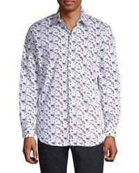 Perry Ellis Floral Stretch Cotton Sport Shirt - White